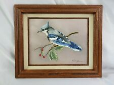Mexico Framed, Vintage Hand Painted Oil Painting 8x10 Inch, Blue Bird B-186