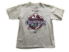 Majestic Boys 2008 Phillies Tshirt Gray Philadelphia World Series Champions Sz M