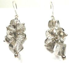 A12) Sterling Silver Smokey Grey Crystal Dangle Earrings - New
