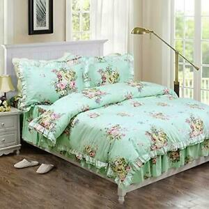FADFAY Shabby Green Floral Bedding 100% Cotton Princess Lace Ruffle Girls