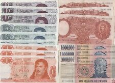 Argentina 1 5 10 100 1 Million Pesos 1967 1974-76 P-277 287 294 300 310 Banknote