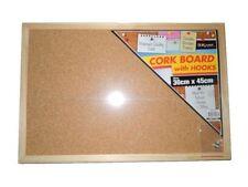 1 pcs Office Corkboard Message Notice Cork Board Wooden Frame & Hooks 30x45cm