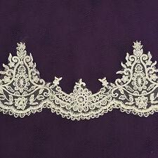 1m White Bridal Clear Sequins 11cm wide Tutu Plate Trim Lace Dance Ballet