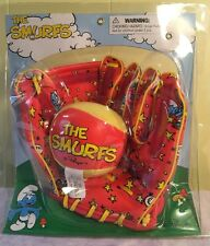 The Smurfs Baseball Glove Ball Velcro Peyo Kids Red Game - New Sealed!
