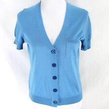 Talbots Cardigan Sweater Sz MP Blue Short Sleeve Lightweight Silk Blend