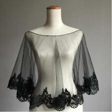 Women's black lace shawl wedding cape bridal wrap in White , Ivory