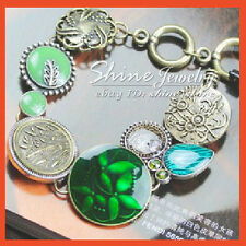 LADIES VINTAGE VICTORIAN Bronze FILIGREE Crystal GREEN Charm Bangle Bracelet 05