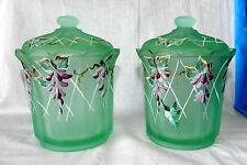FENTON LTD ED Pair of Hand paint ART GLASS COVERED JARS DESIGNER FRANCES BURTON