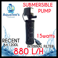 RECENT AA1200L SUBMERSIBLE AQUARIUM FILTER WATER PUMP 880L/H MARINE FISH TANK
