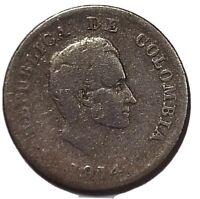 COLOMBIA - MONEDA DE 20 CENTAVOS 1914 DE PLATA