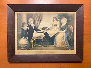 Washington Family Antique 1840s Currier & Ives Lithograph Print 16X12 George