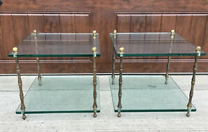 Vintage Hollywood Regency Faux Bamboo Square Brass Glass Accent Side End Table