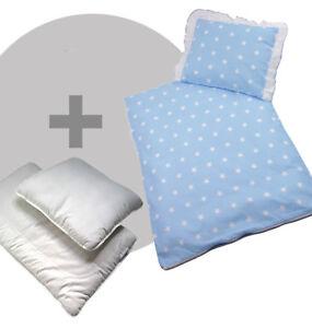 NEU Kinderwagen Bettwäsche 4-teiliges Set Decke+Kissen+Füllung Sterne hellblau