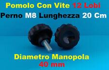 Pomello Volantino Manopola Pomolo con perno con vite 12 Lobi 40mm M8