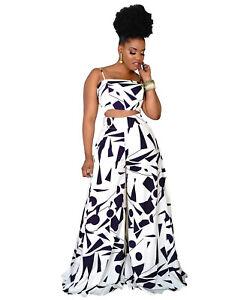 Fashion New Women Colorful Print Sleeveless Patchwork Wide Leg Long Pants Set