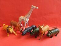 VINTAGE WILD ANIMAL BUNDLE X7 FIGURES TM 1990s LION HIPPO CHEETAH GIRAFFE ETC