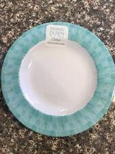 "New listing Set 4 Sigrid Olsen Coastal Teal Blue White Melamine 8.5"" Dessert Lunch Plates"