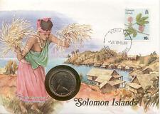 superbe enveloppe ILES SALOMON pièce 20 cents 1977 neuve new unc timbre