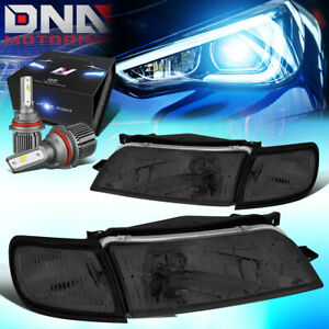 FOR 1997-1999 NISSAN MAXIMA OE STYLE HEADLIGHT LAMPS W/LED KIT+COOL FAN SMOKED