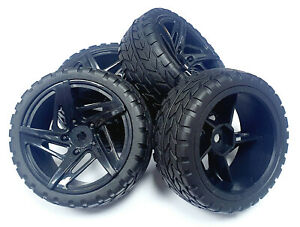 22100 1/10 Scale RC Car On Road Wheel and Tyre Black Plastic Swirl Design x 4