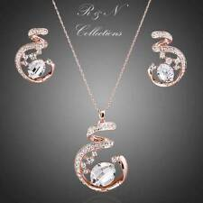 18K Rose GP Abstract Design MAde With Swarovski Crystal Necklace Earrings Set