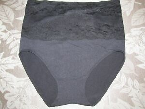 """Rhonda Shear """"Ahh"""" Seamless Brief with Lace Overlay - Size XL"""