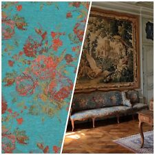 NEW Designer Floral Needlepoint Inspired Upholstery Fabric- Turquoise & Roses