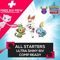 GMAX Starters ✨ULTRA SHINY✨ 6IV HIDDEN ABILITY + FREE MEW Pokemon Sword Shield
