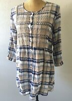 Johnny Was Boho Hippie Blue Plaid Embroidered Floral Tunic Peasant Top Blouse XS