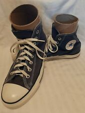 Vtg Navy Blue 80's 90's Canvas Converse Hi-Top Athletic Tennis Shoes Sz10 Chuck