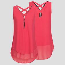 Camiseta Blusa Camisa de Chifón sin Mangas Doble Capa ocn Cremallera para Mujer
