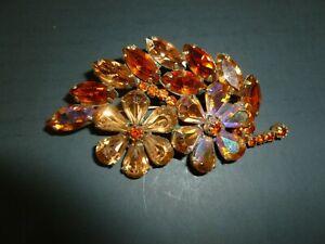 Vintage Weiss Amber Rhinestone Flower Brooch / Pin