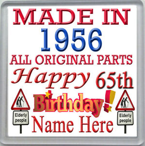 HAPPY 65th BIRTHDAY DRINKS COASTER CELEBRATION GIFT PERSONALISED WITH NAME 1956