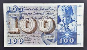 Switzerland Banknote 100 Franken, 2/4/1964 St Martin, S/N 46D93200, P#49f, aVF