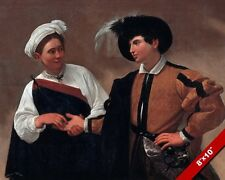 GOOD LUCK TWO YOUNG LOVERS BY CARAVAGGIO PAINTING ITALIAN ART REAL CANVAS PRINT