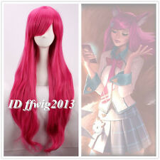 LOL Judgment Ahri the Nine-Tailed Fox 80cm Long wavy curly magenta Cosplay Wig
