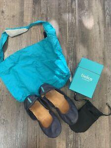 Tieks by Gavrieli California Navy Blue Leather Ballet Flats Shoe Sz 8 Tote & Bag