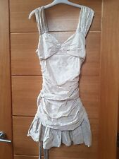 French Connection Cotton Tea Floral Ruched Mini Dress Size UK 12 but Fits UK 10