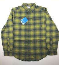 Columbia Mens XL Green Yellow Plaid Boulder Ridge Brushed Flannel Shirt NWT
