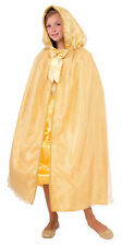 Royal Medieval Princess Gold Costume Hooded Cape Girls Boys Halloween Ren New