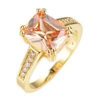 8*10MM Champagne Topaz Engagement Ring Women's 10Kt Yellow Gold Filled Size 6-10