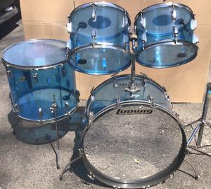 Ludwig Vistalite 4 piece Blue Acrylic Drum Set 24 18 14 13