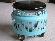 Vtg Mid Century Hassock Footstool Floor Fan Custom Aqua Paint Refurb 3 Speed