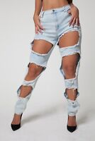 Light Blue Soft Stretch Denim Low Rise Ripped Distressed Jeans sizes 10 12 14 16