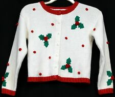 Hartstrings White Sweater Holly Berries With Red Trim Button Up Girl's Sz 7/8