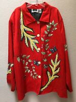 Maggie Barnes Embroidered Jacket Women's Size 4X Red Floral