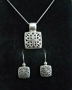 Sterling Silver Celtic Irish Pendant necklace matching earrings symbol set 925
