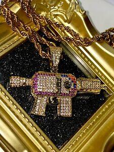 Herren 14k Gold Vereist Eis Aus Auszeichnung Premeth, Ak 47 Anhänger Seil-Kette