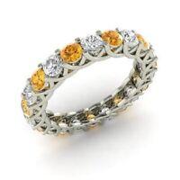 2.64 Ct Natural Citrine Engagement Eternity Band 14K White Gold Diamond Rings