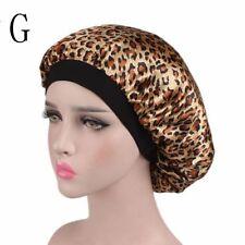 Fashion Wide Band Night Sleep Hat Ladies Turban Hair Cap Satin Bonnet G